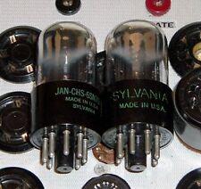 2 TUBES Sylvania 6SN7GT 6SN7GTA chrome dome black plates factory matching H3M