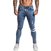 GINGTTO Ripped Men Slim Fit Jeans Super Skinny Stretch Frayed Biker Denim Pant