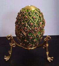 "Beautiful Green Enamel Decorative Faberge Egg: Easter Egg Trinket Box, 2.5"""