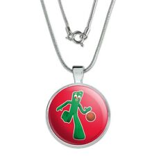 """Sporty Gumby Basketball Player Clay Art 1"""" Pendant w/ Silver Plated Chain"""