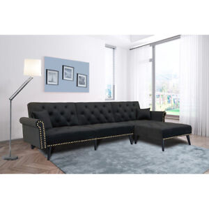 Convertible Sectional Home Sofa Velvet Fabric L-Shaped Couch With Pillow SL