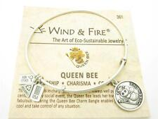 Wind & Fire Queen Bee Charm Silver Wire Bangle Stackable Bracelet USA Gift New
