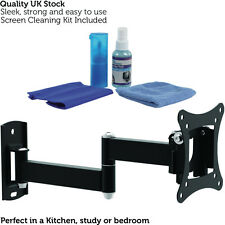 "10-27"" Full Motion Cantilever TV Monitor Bracket - Wall Mounted Small Arm Stand"