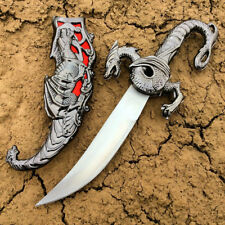 "NEW 17"" Silver/ Red Fixed Blade Fantasy Dragon Dagger Sword Knife Stainless"