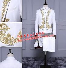Men's Gold Embroidery Tuxedo Suit Evening Performance Dress Formal Coat Pants Ch