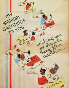 Rust Craft Boston Rare Vintage 1930s Cute Furry Puppy Dog Happy Birthday Card