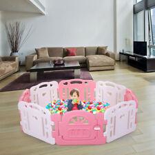 Baby Playpen 8 Panel Safety Play Center Yard Kids Home Indoor Outdoor Pen Pink