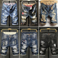 Mens Denim shorts Short Jeans Ripped Pants Jean pant Destroyed short pant Frayed