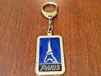 Vintage 1992 Paris Eiffel Tower Blue Enameled Key chain Metal - Made In France