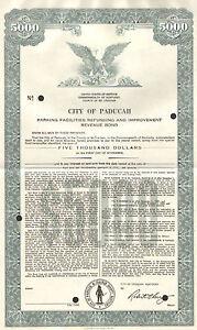 City of Paducah > SPECIMEN Kentucky $5,000 parking facilities bond certificate