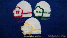 """L@@K! LOVELY """"LOT OF 3 - HAND CROCHET REBORN BABY HATS W/ FLOWER - SZ: PREEMIE"""