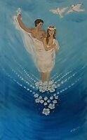 Olio su tela, quadro, quadri, ritratto, coppia, innamorati, arte, arredo