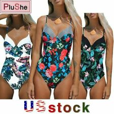 Womens Floral Printed Halter One Piece Swimsuit  Bandage Swimwear Bathing Suits