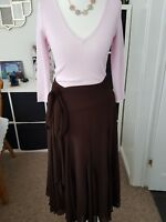 """Ladies """"Coast"""" Brown Floaty Skirt with Fabric Belt (Size 10)"""