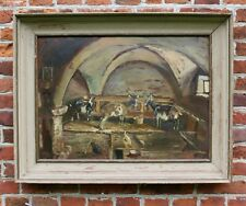 More details for mid 20th century oil painting on board stable scene goats chickens impressionist