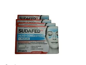 Lot of 4 Sudafed PE Head Congestion + Mucus Non-Drowsy 24 Tablets per box = 96 ❤