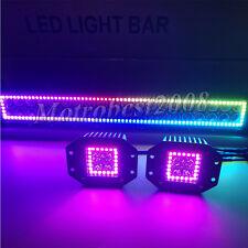 "22"" 120W LED Light Bar + 2x 5"" 24W CREE Flush Mount Pods with RGB Halo Chasing"