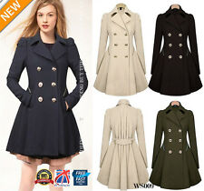 WOMENS Ladies Lapel Stylish Long Parka Coat Trench Outwear Jacket 8-20 WS009