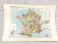 1888 Antique Map of France Political Provinces Provincial Deaprtments FRENCH