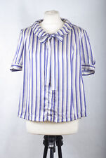 L115/72 Illusion Collection Pure Silk Elegant Blue Striped Round Collar Bow, 16