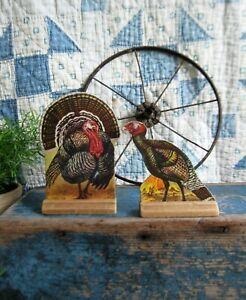 2 Antique Schoolhouse Cardboard Farm Animals Wood Stand Bronze Turkeys
