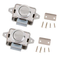 2 Sets Push Button Latch Catch Lock for RV Boat Drawer Cupboard Cabinet Door