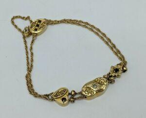 "Vintage Solid 14k Yellow Gold Ladies Diamond & Gemstone Slide Bracelet 7.5"""