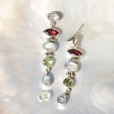 Ohrschmuck mit echten Granate Edelsteinen aus Sterlingsilber für Damen