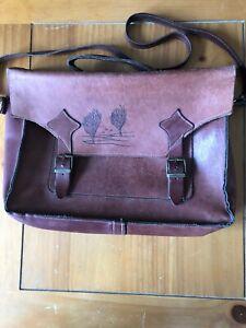 Vintage leather satchel handbag with fixed shoulder strap