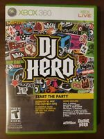 DJ Hero (Microsoft Xbox 360, 2009) CIB Complete w Manual Disc is Mint Condition