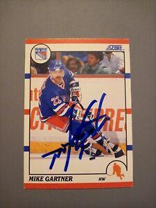 1990-91 Score Mike Gartner Rangers Auto Autographed Signed Card