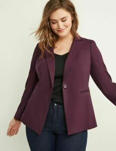 Lane Bryant Burgundy Wine Sexy Stretch Blazer Jacket 28 Fits 28W 3X 4X