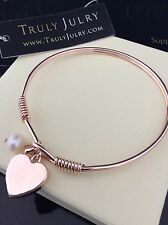 Ladies Designer Rose Gold Heart Charm Drop Pearl Bangle Jewellery Gift UK