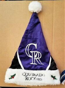 MLB License Colorado Rockies Baseball SANTA HAT,Embroidered Velvet Fur Satin-NWT
