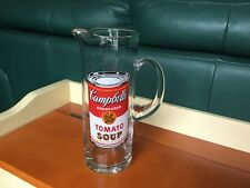 Campbells Tomato Soup Clear Glass Pitcher RARE signed by Andy Warhol VINTAGE