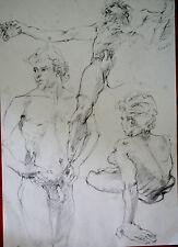 DESSIN-MINE DE PLOMB-ETUDE-MANIERISTE-NU HOMME-ACADEMIQUE-ATELIER-13/19-