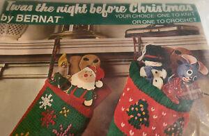 Vintage Bernat Twas The Night Before Christmas Stocking Kit Knit Crochet 1975