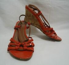 Kenneth Cole Women's Wedge Sandals 6.5 Red Strap Cork High Heel Shoes