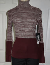 WORTH Red Sienna Natural Cotton Ribbed Marl Turtleneck Sweater size XL $298 NWT