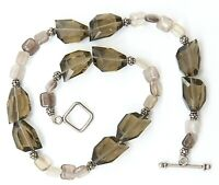 "Art Glass Beaded Smoky Gray Green Silver tone Necklace 16 1/2"""