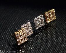 Diamond Cut Crystal Stud Earring Iced Square 8 mm Gem Ear Studs