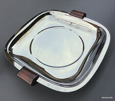 Glo Hill Chrome Serving Tray Bakelite Handles Feet 7in Gourmates MCM Canada Vtg