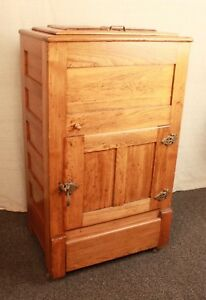 Vintage Antique Oak Raised Panel ICE BOX Cabinet Chest Wooden ICEBOX
