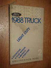 1988 FORD TRUCK SPECIFICATIONS MANUAL ORIGINAL BOOK F150 F250 SUPER DUTY & MORE