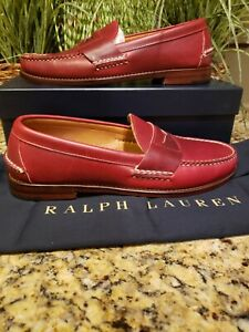 Men's Ralph Lauren Oil Leather Eltham Red Smooth Size 10 Penny Loafers