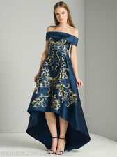 CHI CHI LONDON EMBROIDERED BARDOT DIP HEM MAXI WEDDING DRESS UK10/EUR38/US6