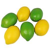 Artificial Yellow & Green Lemons Fake Fruit Realistic Lifelike Decoration 12pcs