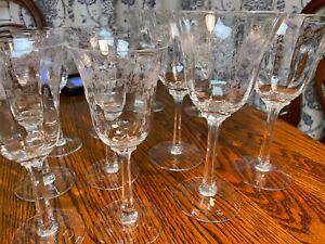 Set 11 1980's Lenox Crystal Castle Garden Etched Goblets - discontinued pattern