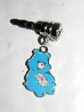 Blue care bear Sitting & laughing charm anti-dust 3.5mm iphone 4 4s Nooks PDA