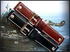 20mm Brown 2pc Rivet Oily Shell Chrono Military watch strap bund IW SUISSE 22 24